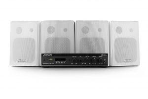 Kit de Sonorização Slim 800 APP - SLIM 800 APP + 4 caixas PS200 branca com suporte