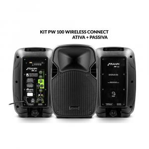Kit PW 100 Wireless Caixa Ativa + Caixa Passiva 200W RMS