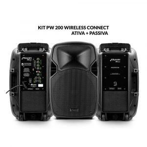 Kit PW 200 Wireless Caixa Ativa + Caixa Passiva 400W RMS