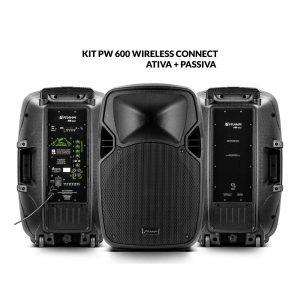 Kit PW 600 Wireless Caixa Ativa + Caixa Passiva 1200W RMS